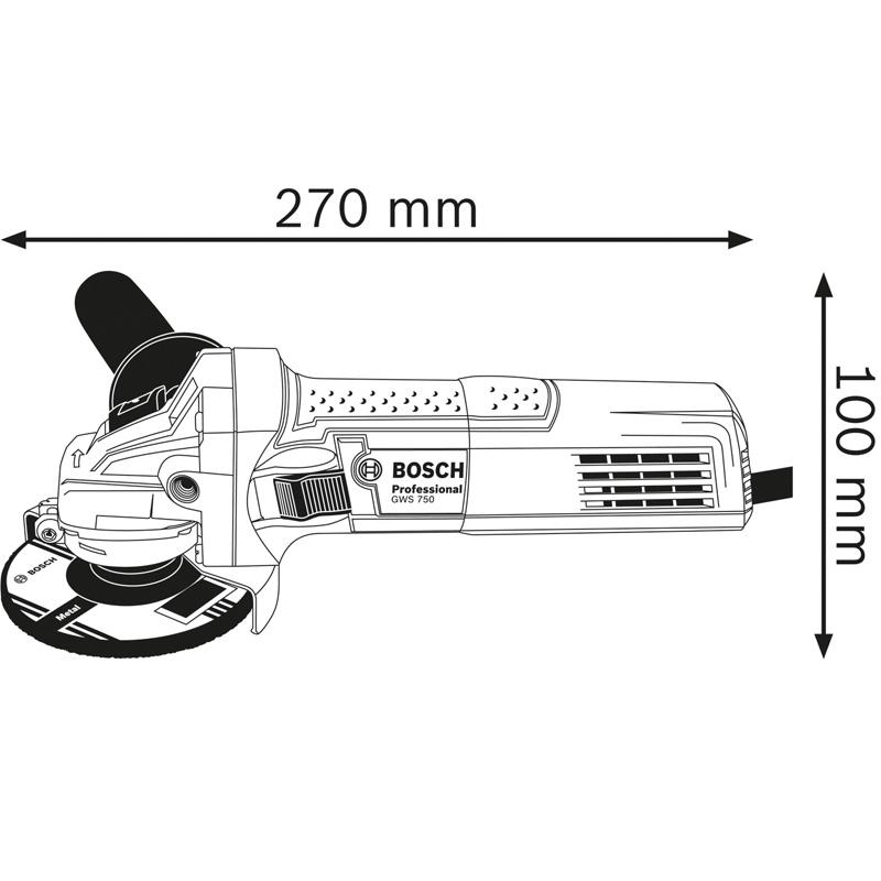 Polizor unghiular 125mm, 750W tip GWS 750-125