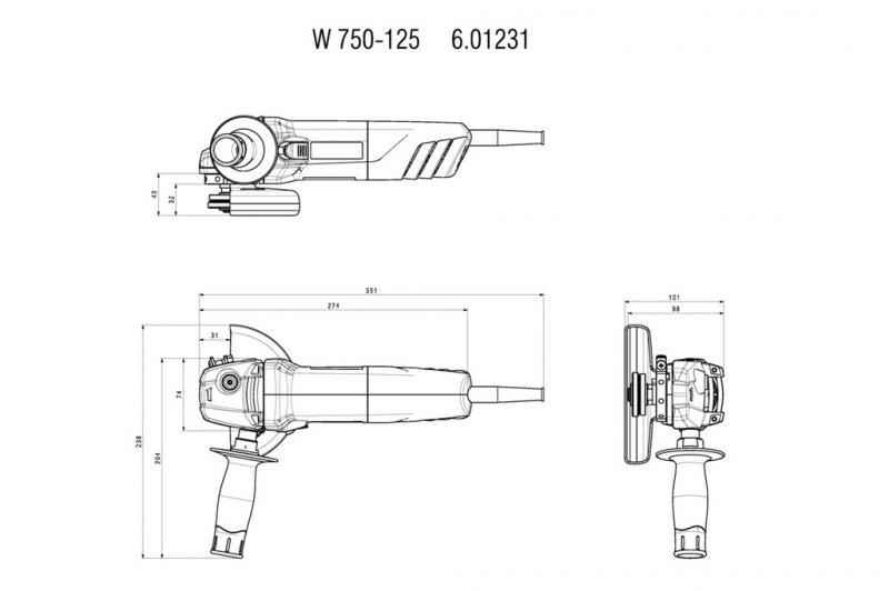 Polizor unghiular 125mm, 750W tip W750-125