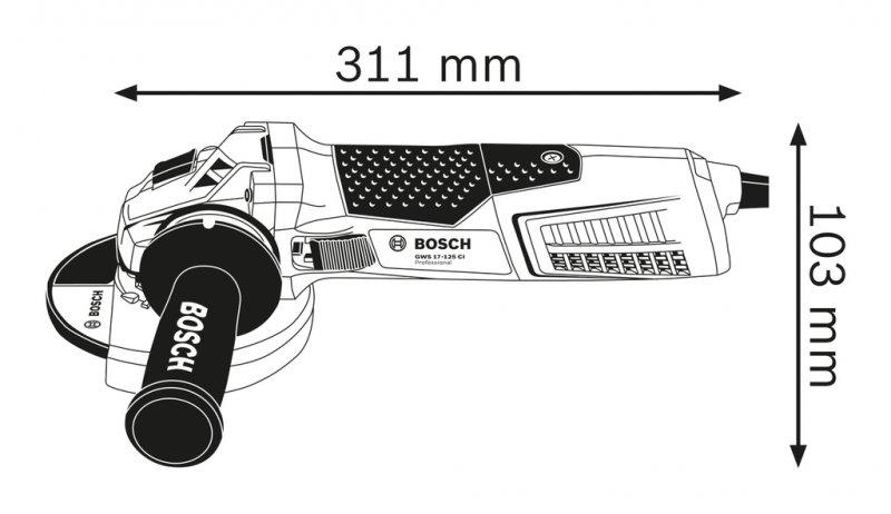 Polizor unghiular 125mm, 1.700W, tip GWS 17-125 CI