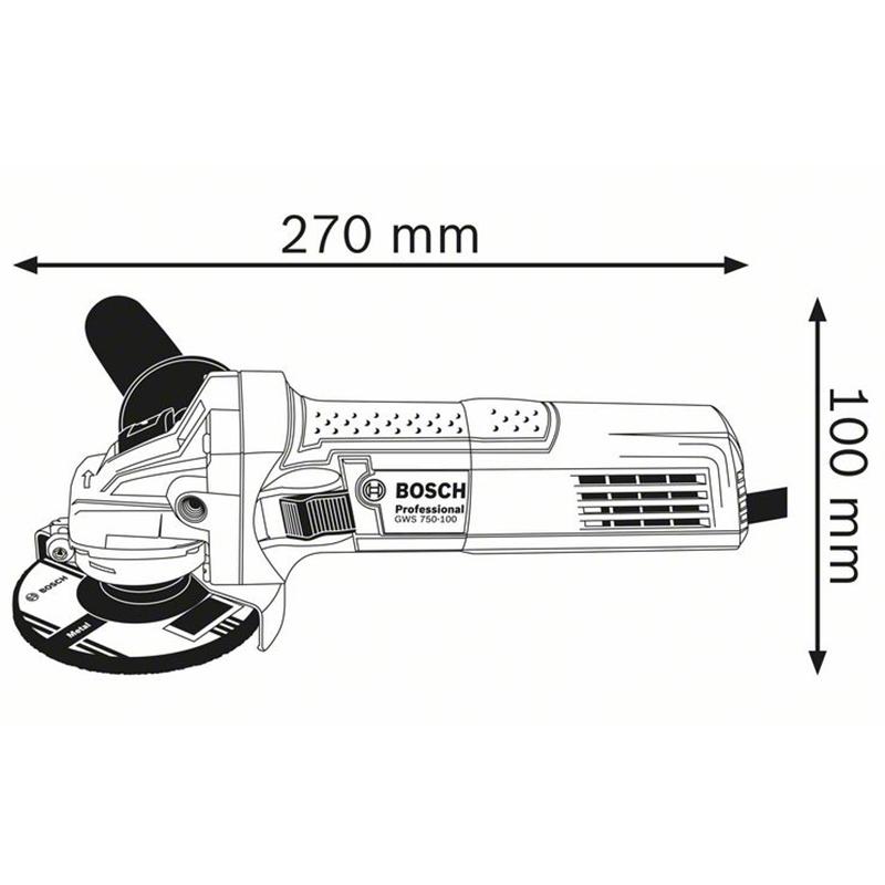 Polizor unghiular 115mm, 750W tip GWS 750-115