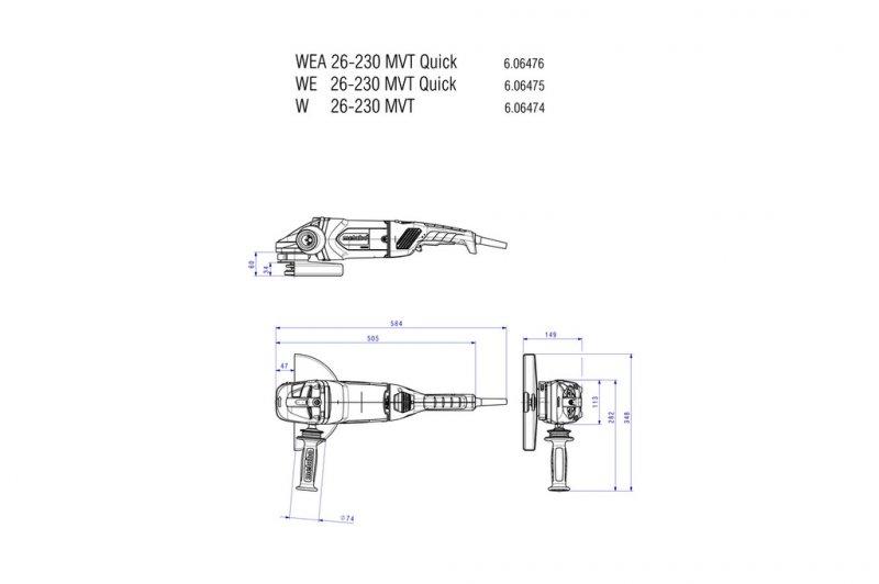 Polizor unghiular 230mm, 2600W tip WE 26-230 MVT Quick
