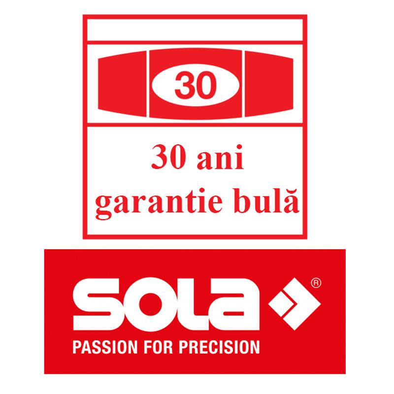 Nivela SOLA BAUPRO 200 din aluminiu, profil tubular, argintiu, 2 bule, 200 cm, ± 0.50 mm/m (0.029°)