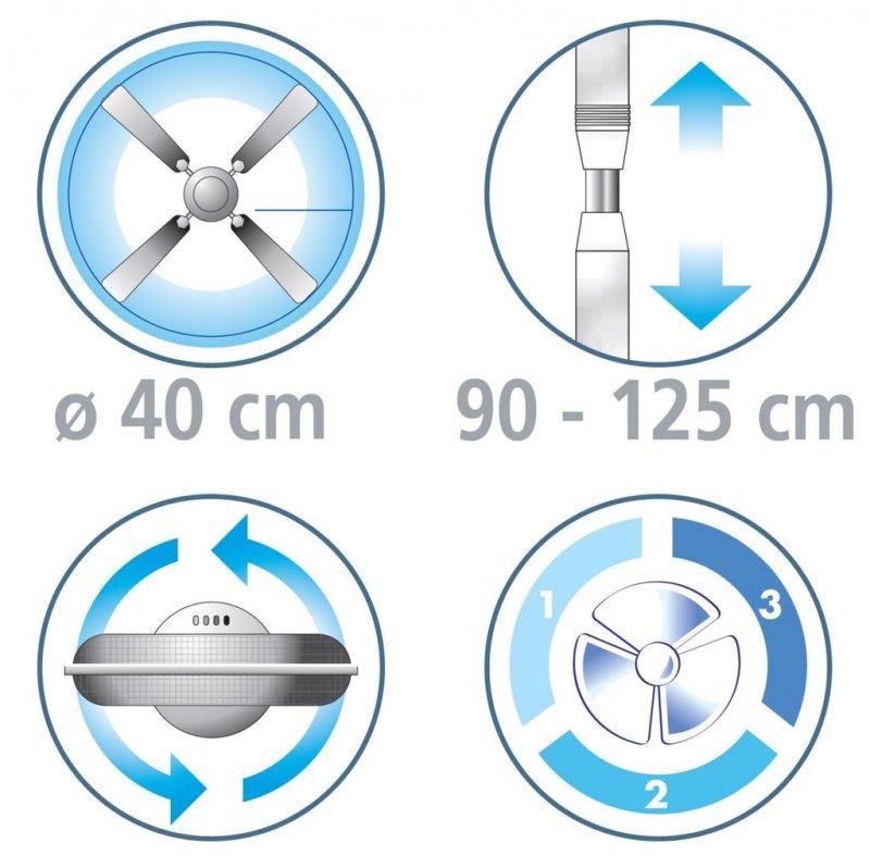 Ventilator cu picior, cromat, ARIZONA