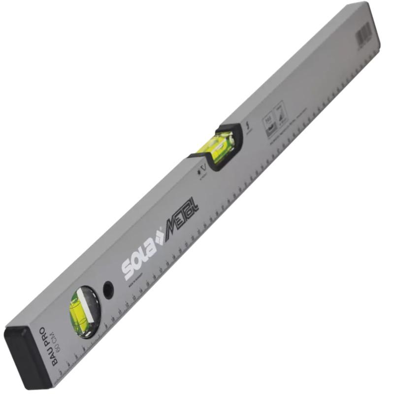 Nivela SOLA BAUPRO 80 din aluminiu, profil tubular, argintiu, 2 bule, 80 cm, ± 0.50 mm/m (0.029°)