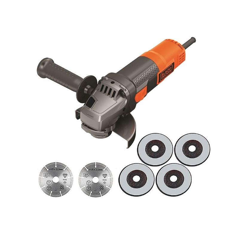 Polizor unghiular 125 mm, 900W SAG tip BEG220A6-QS + 6 discuri
