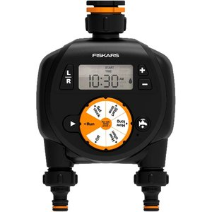 Programator electronic, cu montaj direct pe robinet/furtun, Fiskars Watering Timer, cu doua circuite/iesiri