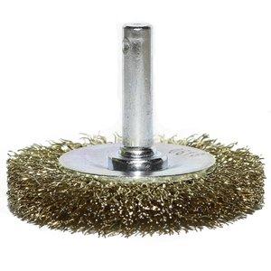 Perie disc pentru masina gaurit, fir alamit, 50 mm