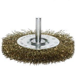 Perie disc pentru masina gaurit, fir alamit, 75 mm