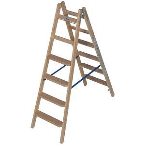 Scara de lemn cu trepte late, 2x6 trepte