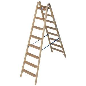 Scara de lemn cu trepte late, 2x8 trepte