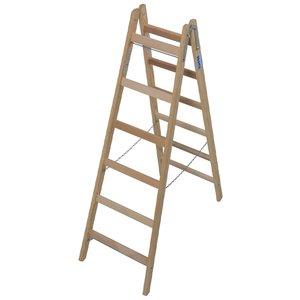 Scara de lemn dubla cu trepte pe ambele parti, 2x6 trepte