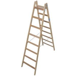 Scara de lemn dubla cu trepte pe ambele parti, 2x8 trepte
