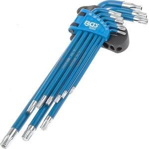 Set 9 chei torx tip L extra-lungi, magnetice + cap cu gaura, T10 - T50