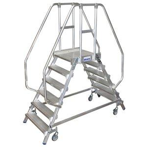 Scara cu podest mobila, cu trepte pe 2 parti (2x6 trepte)