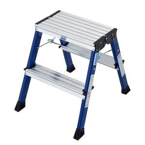 Scara mobila Monto Rolly albastra dubla 2x2 trepte, cu roti retractabile automat