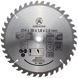 Panza pentru fierastraie circulare, placata, 254 mm