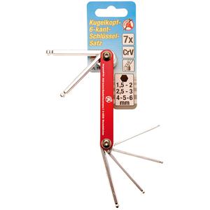 Set 7 chei imbus cu bila, rabatabile, cu suport metalic, 1.5 - 6 mm