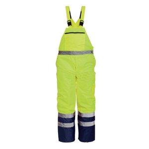 Pantaloni de iarna cu pieptar, galben fluorescent, DENMARK, XL