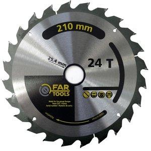 Disc pentru circular, placat, 210 x 25.4 mm, 24 dinti